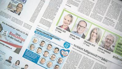 Wahlinserate in der Luzerner Zeitung. (Bild: Pius Amrein (10. März 2020))