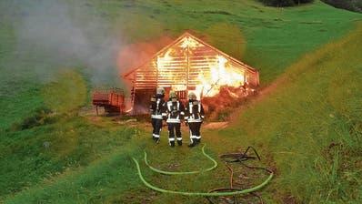 Als die Feuerwehr mit den Löscharbeiten starten konnte, stand die Scheune in Sachseln bereits in Vollbrand. (Bild: Kapo Obwalden (8. Juli 2017))