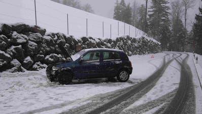 Am meisten Unfälle gibt es im Januar und an Freitagen: Auf dem Bild einSelbstunfall im Burgstock. (Kapo SG)