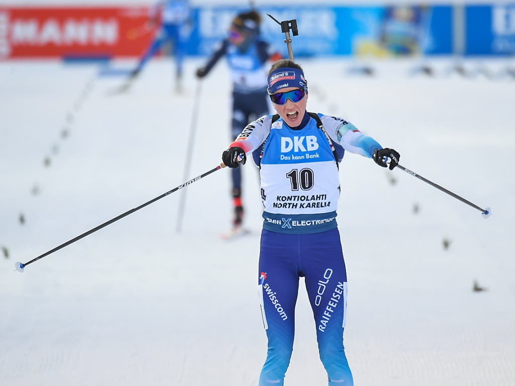 Selina Gasparin hatte in der Schlussphase Lisa Vittozzi und Kaisa Mäkäräinen distanziert.