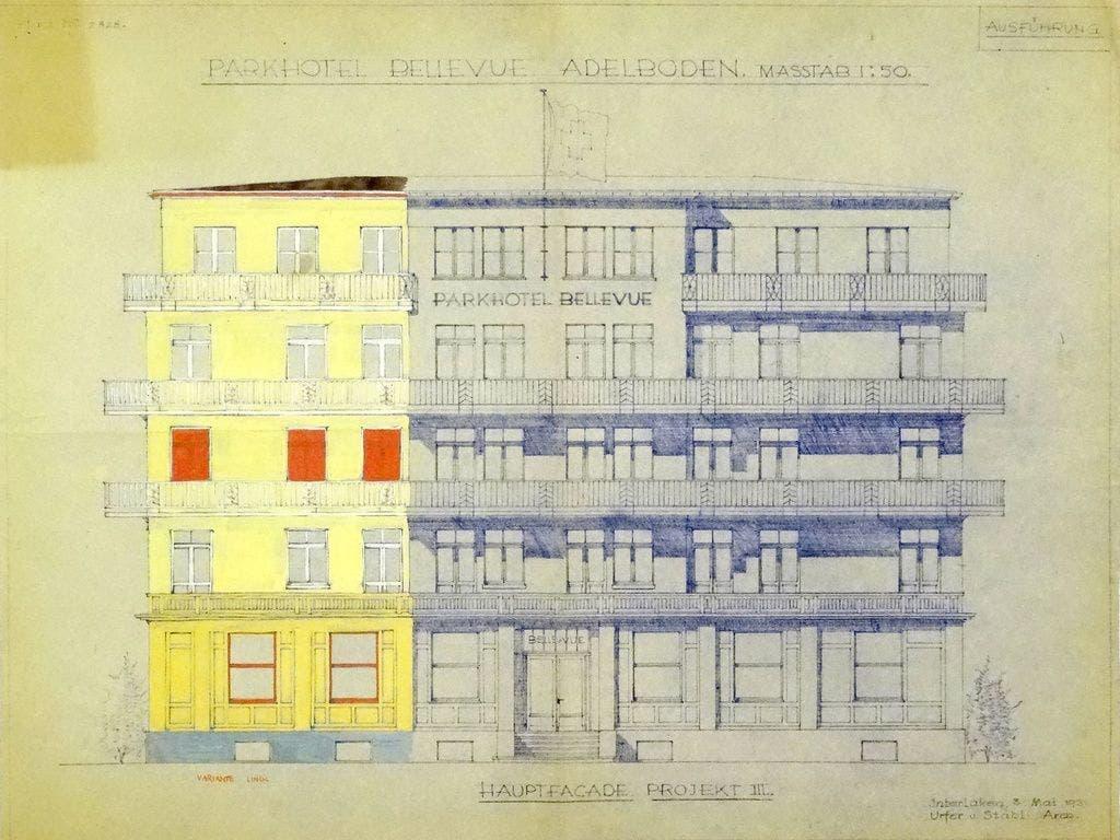 Das Parkhotel Bellevue in Adelboden in einer kollorierten Projektzeichnung von Ernst Linck (Gouache auf Heliografie, ca. 58 x 75 cm, 1931). Das Projekt wurde von Urfer & Stähli Architekten, Interlaken, entworfen. (Staatsarchiv Bern/Reproduktion durch Daniel Wolf)