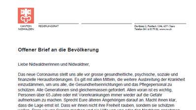 Der Brief der Nidwaldner Regierung an die Bevölkerung. (Bild: PD)