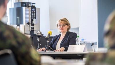 Agnes Burkhalter, Thurgauer Kantonsärztin, an der Pressekonferenz. (Bild: Andrea Stalder)