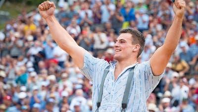 Samuel Giger gewinnt 2019 den Schlussgang auf der Schwägalp. Mitfavorit wäre er fraglos auch beim Jubiläumsfest in Appenzell. (Bild: Melanie Duchene / KEYSTONE)