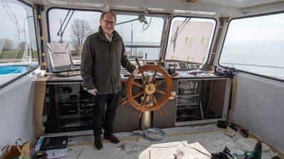 Steuer hart Richtung Zukunft: Hermann Hess und die Schweizerische Bodensee-Schifffahrt investieren trotz Coronakrise weiter fünf Millionen Franken in die Renovation der MS St.Gallen. (Bild: Reto Martin)