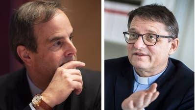 CVP-Präsident Gerard Pfister und der Basler Bischof Felix Gmür sind sich uneins. (Bilder: Gian Ehrenzeller/Keystone, Reto Martin)