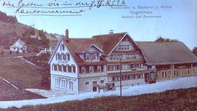 Alte Postkarte des Gastwirtschaftsbetriebs an der Mühlegasse in Degersheim. (Bild: PD)