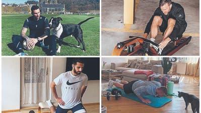 Spielt mit dem Hund statt den Teamkollegen: Francesco Margiotta vom FC Luzern. (Bild: Instagram)