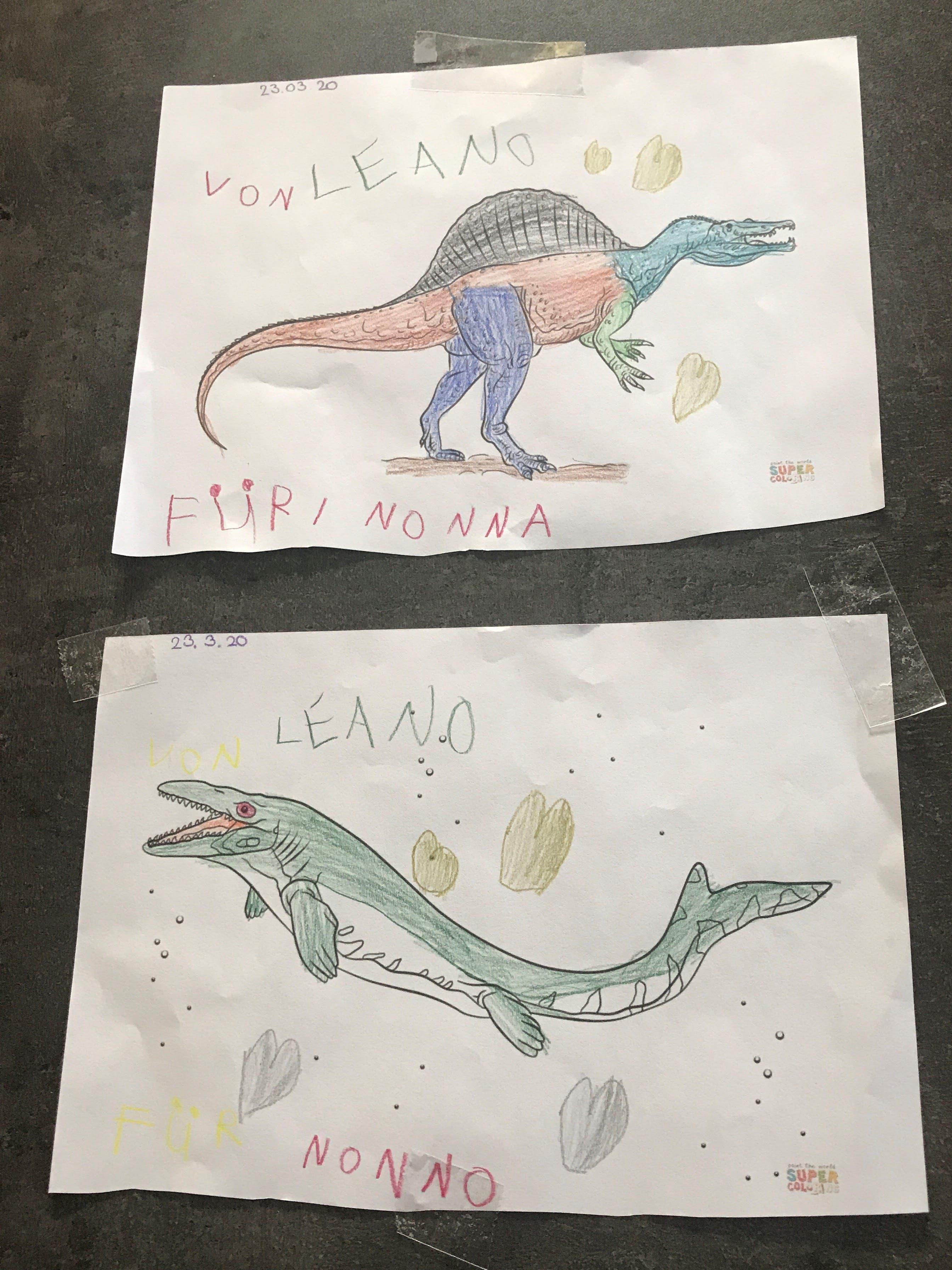 Ein Brief kam unerwartet mit diesen schönen Zeichnungen von unserem Enkel Leano 6 Jahre.  Wir hatten riesige Freude. Dankeschön Nonna und Nonno