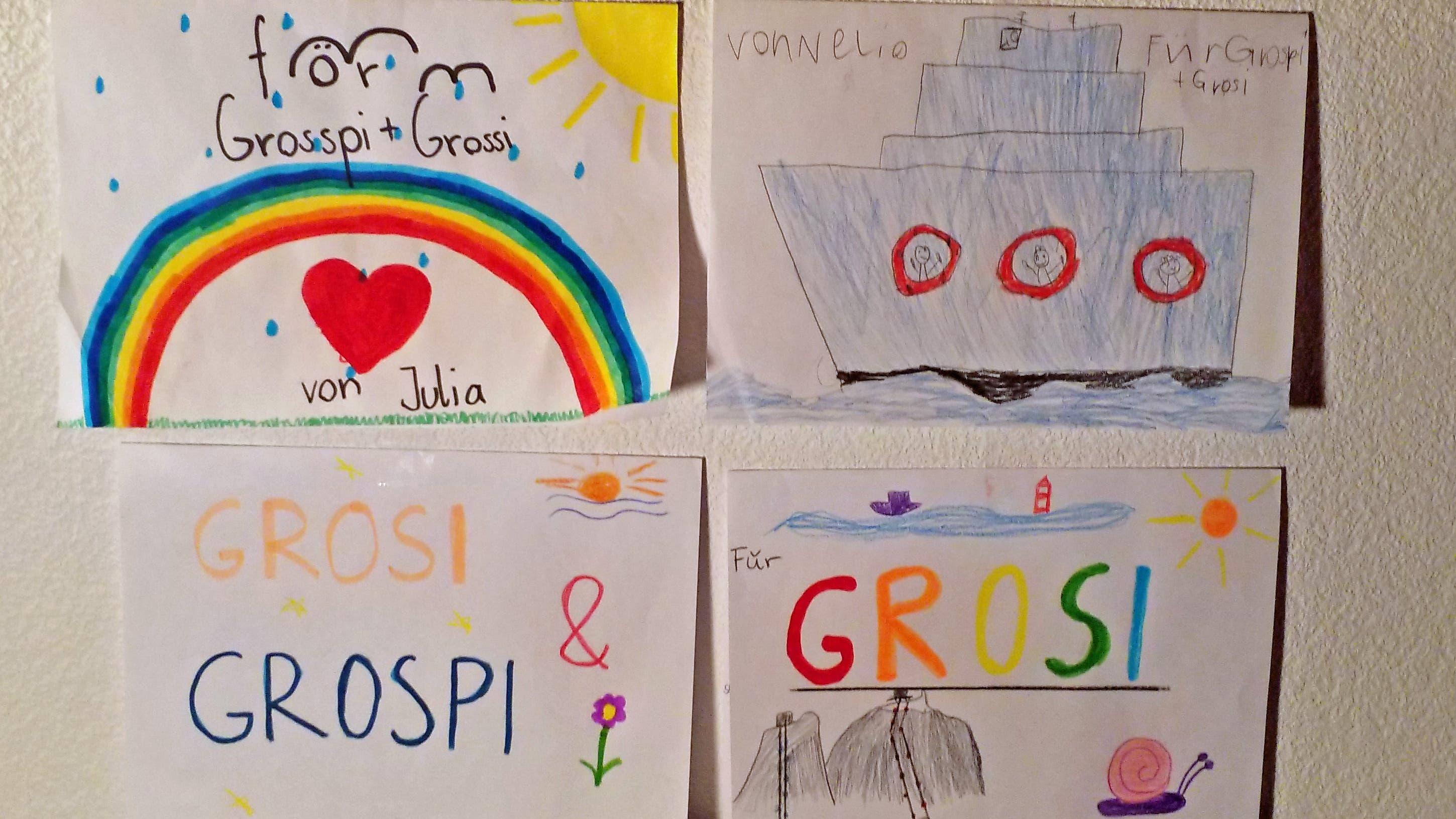 Diese Zeichnungen haben wir in unserer selbstgewählten «Quarantäne» von unseren Enkeln erhalten. Wir haben uns segr gefreut. Wir vermissen sie sehr.