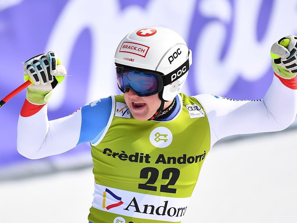 Der damalige Junioren Abfahrts-Weltmeister Lars Rösti jubelt nach seiner starken Fahrt beim Weltcup-Finale in Andorra