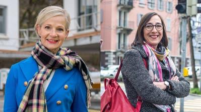 Müssen in den 2. Wahlgang: Die beiden amtierenden Stadträtinnen Franziska Bitzi Staub (CVP, bisher, links) und Manuela Jost (GLP, bisher) an der Podiumsdiskussion im Auditorium der Luzerner Zeitung. (Bild: Philipp Schmidli (3. März 2020))