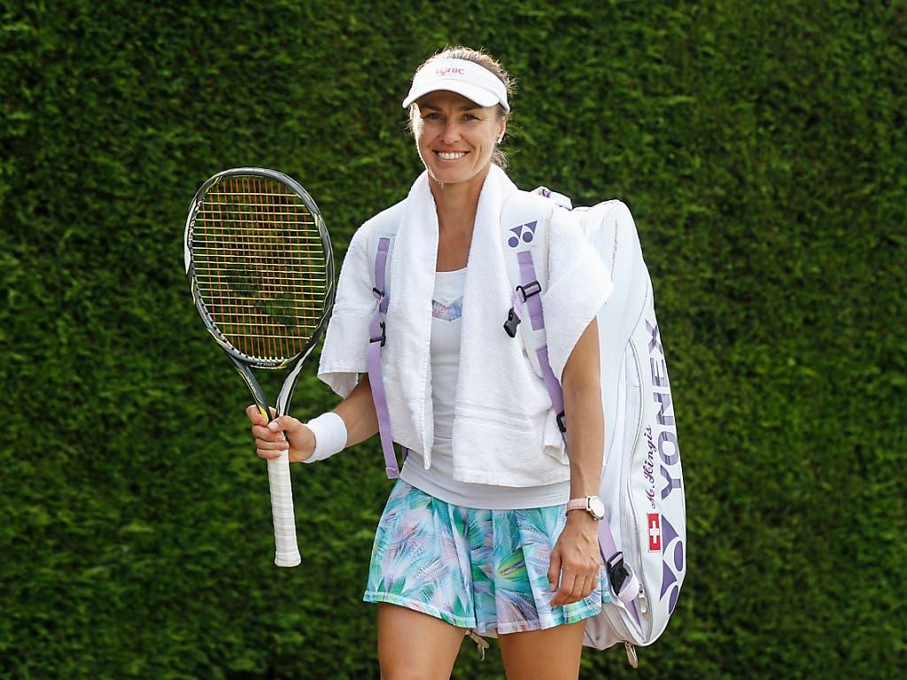 Martina Hingis nach einer Trainingseinheit im Juli 2017 in Wimbledon