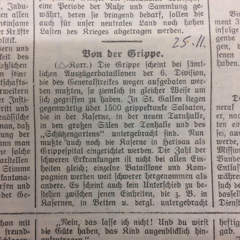 Zeitungsausschnitte zeugen davon, dass in der Region Rorschach regelmässig über die Anzahl der Erkrankten berichtet wurde.
