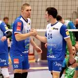 Die Spieler von Volley Amriswil müssen sich gedulden, bis das Meisterrennen in der NLA wieder aufgenommen wird. (Mario Gaccioli (Amriswil, 23. November 2019))
