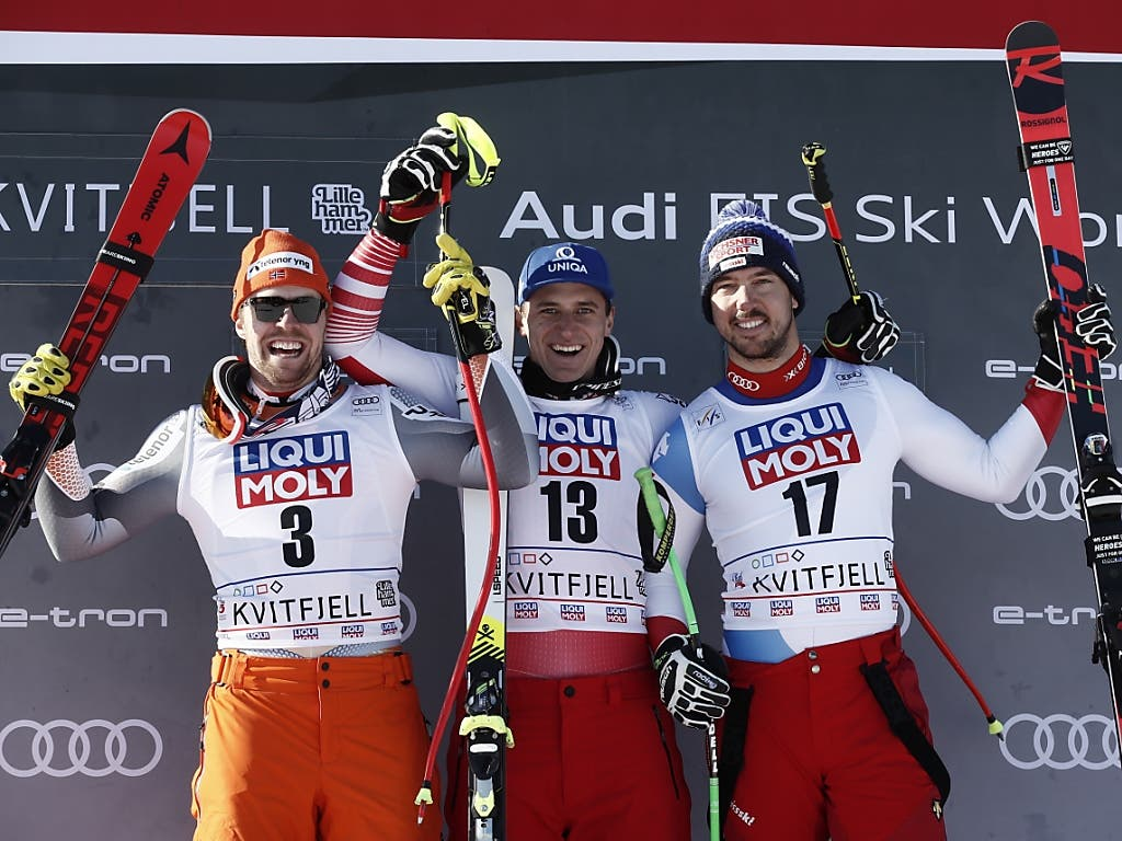Die ersten drei der Abfahrt in Kvitfjell (v.l.): Aleksander Kilde (2.), Sieger Matthias Mayer, Carlo Janka (3.)