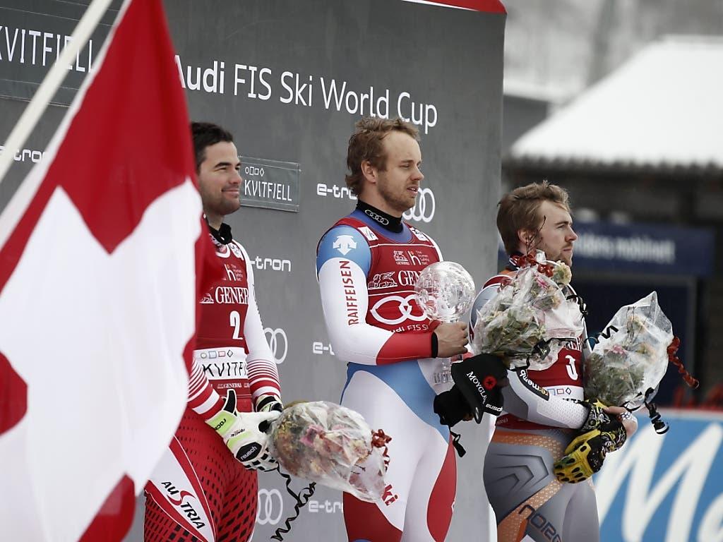 Die besten drei im Super-G in diesem Winter (v.l.): Vincent Kriechmayr, Mauro Caviezel, Aleksander Kilde