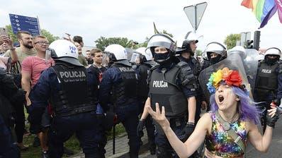 An einer Pride-Parade im polnischen Plock demonstrierten Aktivisten gegen die homophoben Tendenzen in Polen.