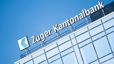 Das Logo der Zuger Kantonalbank am Bahnhof Zug. (Bild: Urs Flüeler/Keystone)