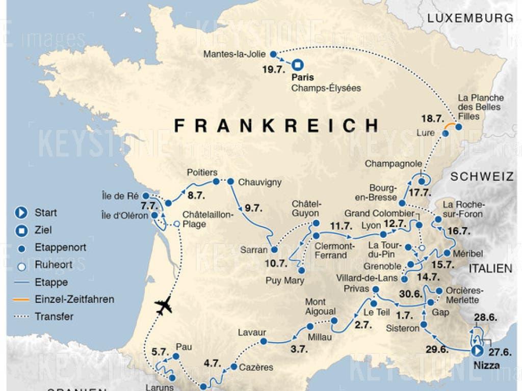 Der Etappenplan der Tour de France 2020 - noch mit den ursprünglichen Daten.