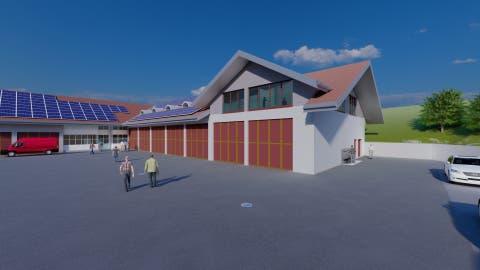 So soll das Feuerwehrdepot nach dem Umbau aussehen, wenn es um zwei Stockwerke (Giebeldach) erweitert wurde. (Visualisierung: PD)