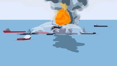 Das Öl breitete sich gut sichtbar auf der Meeresoberfläche aus und machte das Ausmass der Katastrophe für die ganze Welt sichtbar. (Bild: Keystone)