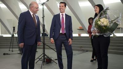 Beat Tinner (FDP), Michael Götte (SVP) und Laura Bucher (SP) standen am Sonntag im zweiten Wahlgang für die St.Galler Kantonsregierung. Gewählt wurden Tinner und Bucher. (Bild: Gian Ehrenzeller/KEY (19.4.2020))