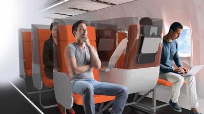 Plexiglas-Scheiben und neue Sitzorientierung für eine bessere Hygiene an Bord? So stellt sich die italienische Firma Aviointeriors die Zukunft der Flugkabine vor. (Bild: PD)