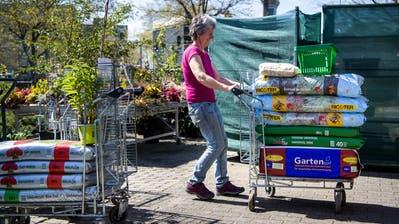 Bald kann man in Gartencentern wieder Gartenerde und Setzlinge kaufen. (Bild: Jean-Christophe Bott / Keystone (Crissier, 18. April 2020))