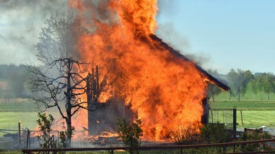 Eine Scheune in Buttisholz fing Feuer. (Bild: Tele 1)
