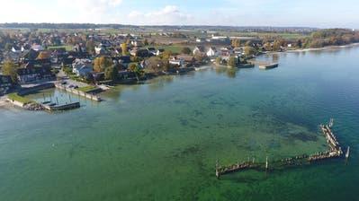 Luftaufnahme mit der Stelli vor dem Gondelhafen in Kesswil. ((Bild: PD))