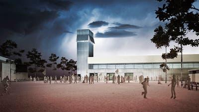 Vom städtischen Ertragsüberschuss sollen vier Millionen Franken in die Reserve für die geplante Tribüne bei den Sportanlagen Buechenwald fliessen. Im Bild eine Visualisierung des Siegerprojektes Hegi mit Turm. (Visualisierung: PD)