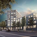 Eines der geplanten neuen Gebäude wird auf dem heutigen Parkplatz nördlich des Maxx-Kinopalasts entstehen. (Visualisierung: PD,Nightnurse Images GmbH)