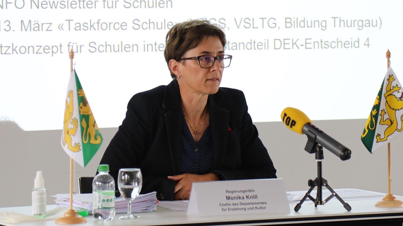 Informierte heute über die Öffnung der Schulen im Thurgau: Regierungsrätin Monika Knill, Chefin des Departements für Erziehung und Kultur.