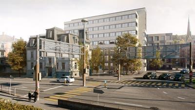 Im Hotelneubau neben der Villa Wiesental sind sieben beziehungsweise acht Geschosse (plus ein Attikageschoss) sowie eine Tiefgarage für Hotelgäste geplant. (Bild: PD)
