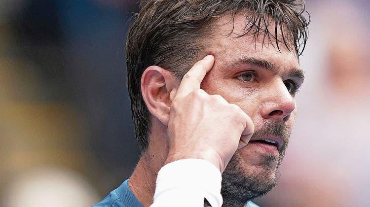Tennisprofi Stan Wawrinka zelebriert den Aspekt der mentalen Stärke öfters mit einer Geste. (Bild: Michael Dodge/EPA (Melbourne, 27. Januar 2020))