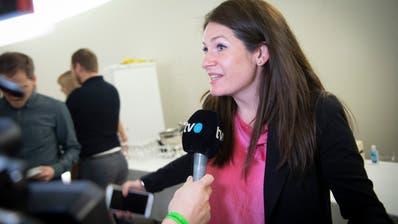 Nadine Niederhauser, Präsidentin der St.Galler Grünliberalen, am kantonalen Wahlsonntag Anfang März im Pfalzkeller. (Ralph Ribi)