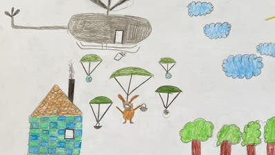 Der Hase mit Mundschutz und Pfotendesinfektionsmittel kommt per Heli. Zeichnung von Tim Konings, 8 Jahre.