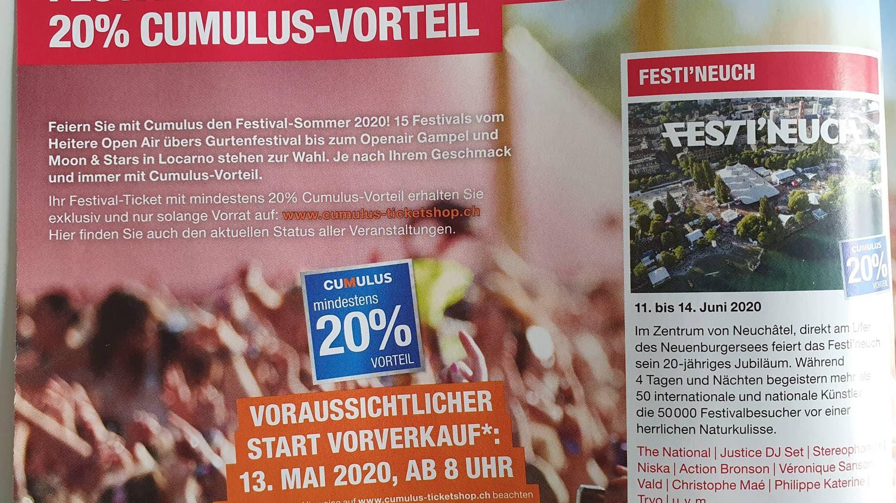 Dasselbe beim Neuenburger Festival Festi'Neuch.