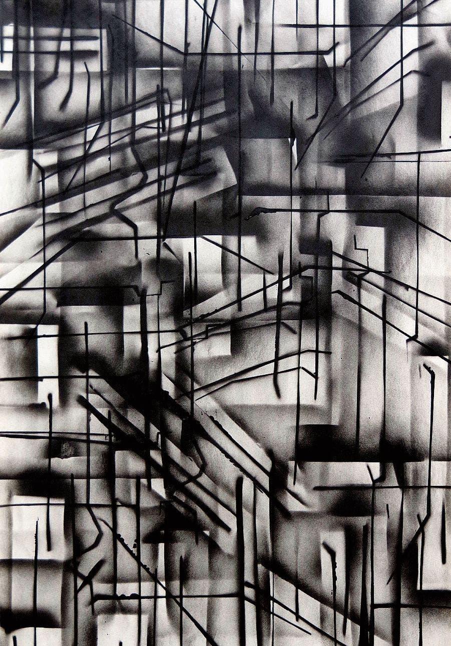 Spray auf Zeitungspapier: «Architektur I» von Nina Caviezel.