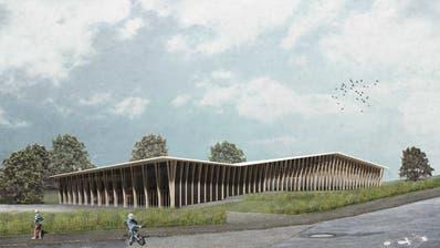 Der Bau der neuen Dreifachturnhalle in Beromünster wird wegen der abgelehnten Ortsplanungsrevision verzögert. (Visualisierung: Visualisierung: ARGE Studio Cornel Staeheli & GOA Architekten GmbH)