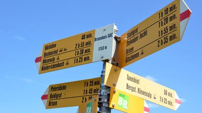 Featurebild Wandern Wegweiser beim Brisenhuis zwischen Klewenalp und NiederrickenbachBild Markus von Rotz / Neue NZ / 21.6.2012 (Markus Von Rotz Markus Von Rotz Markus Von Rotz (neue Nz) / Neue Nidwaldner Zeitung)