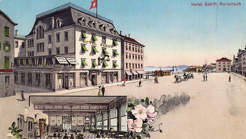 Werbung für das Hotel Schiff im Jahre 1904. Das Bild vergrössert den Hafenplatz mit künstlerischer Freiheit. (Ansichtskarte: Archiv Wolfgang Göldi)
