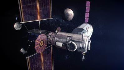 """Die Raumstation """"Gateway"""" soll ab 2024 den Mond umkreisen und als Zwischenstopp für bemannte Marsmissionen dienen. (Nasa)"""
