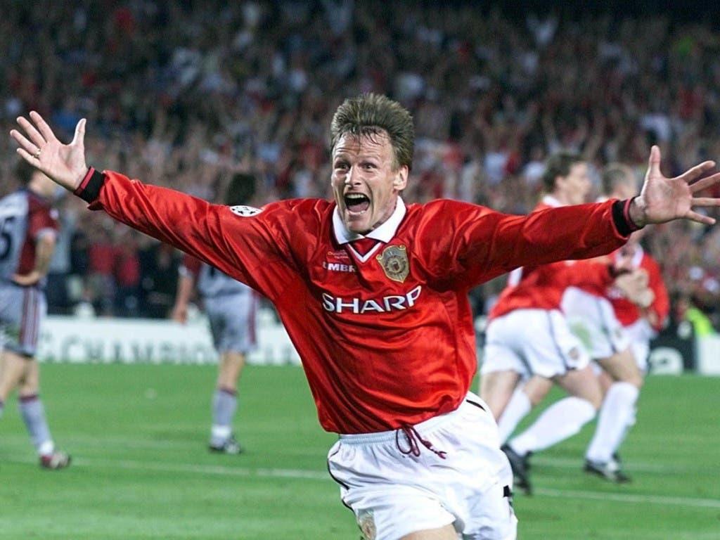 Zwei Tore von Manchester United (hier Teddy Sheringham nach dem 1:1) entrissen den Bayern den sicher geglaubten Triumph in der Champions League