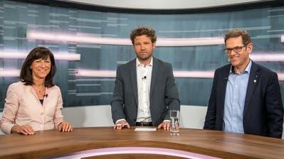 Heidi Hanselmann, Stefan Schmid und Jakob Stark im TVO-Studio. (Bild: Michel Canonica (27. Mai 2020))