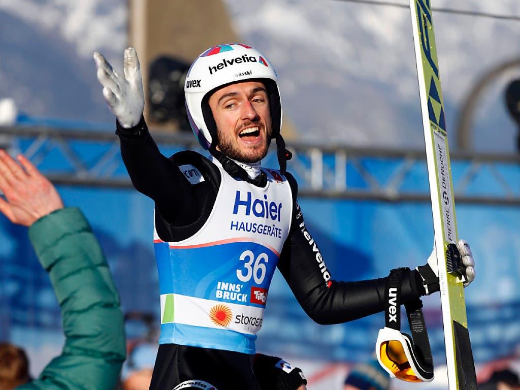 Teamgeist ist wichtig: Ammann feiert mit Killian Peier dessen WM-Bronzemedaille 2019 in Innsbruck