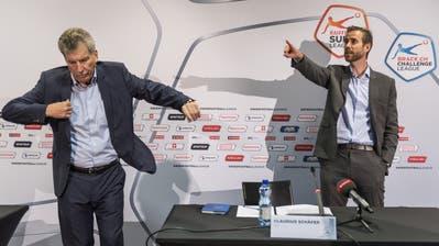 Sie informierten über die Beschlüsse: SFL-Präsident Heinrich Schifferle (links) und CEO Claudius Schaefer. (Bild: Alessandro Della Valle / Keystone (Bern, 29. Mai 2020))