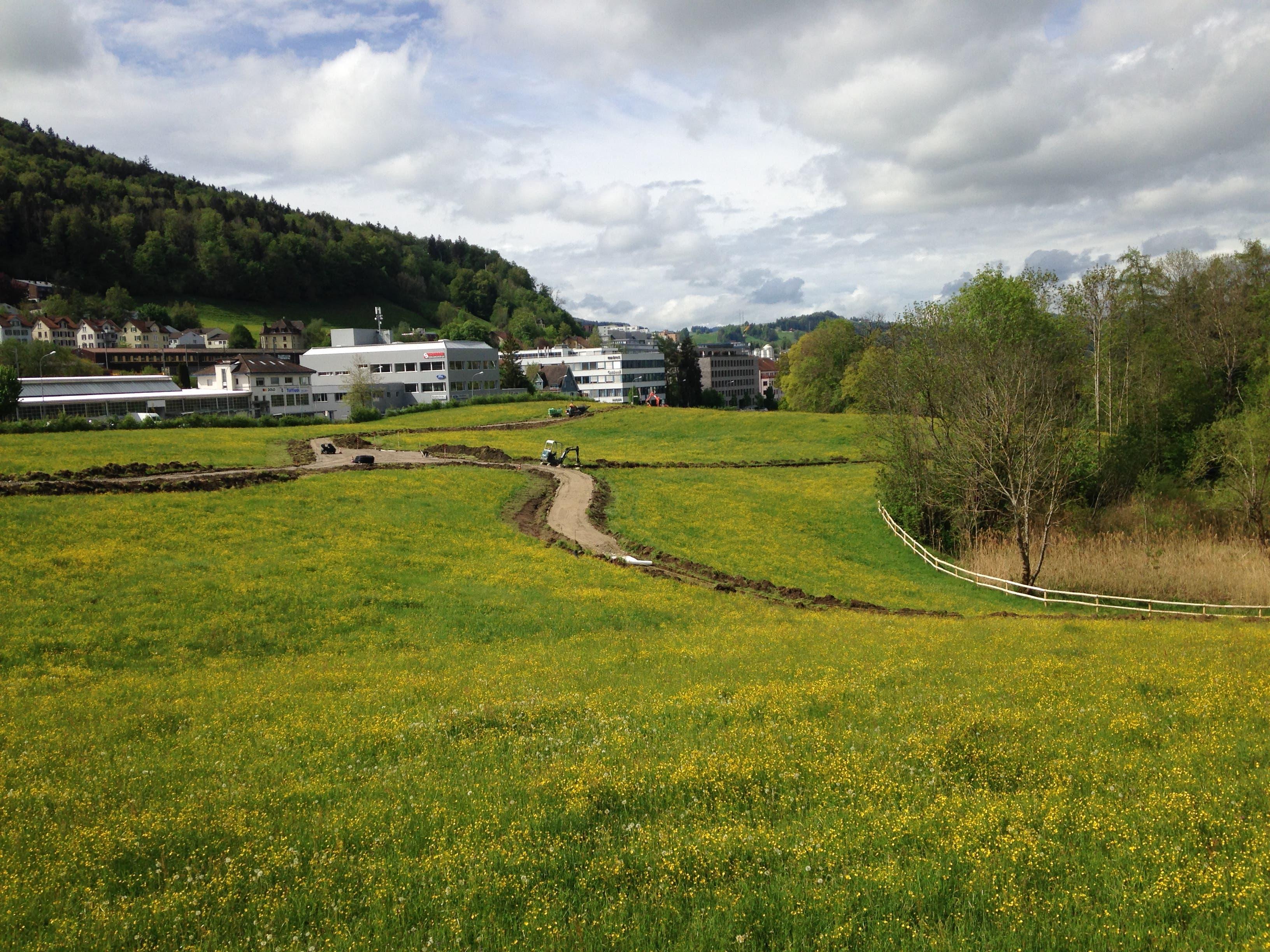 Die Trassen fürs Wegnetz schlängeln sich durchs grüne Gelände.