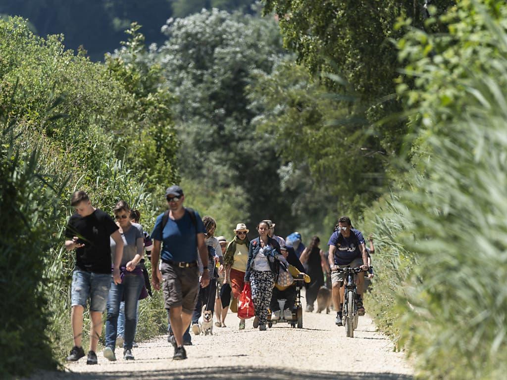 Velofahrer und Wanderer kreuzen sich auf dem Wanderweg zwischen Erlach und der Sankt Petersinsel beim Bielersee im Kanton Bern.